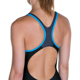 speedo Fit Laneback Traje de Baño Mujer, black/oxid grey/winsdor blue